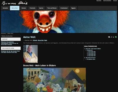 La copie d'écran d'une page du site www.bruno-heiz.com, qui présente les oeuvres de Bruno Heiz, artiste-peintre de Bâle.