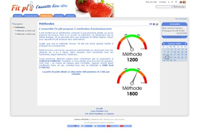 Le site internet de Fit pl8 Sàrl propose une méthode d'amincissement réunissant une assiette à compartiments et une méthode diététique.