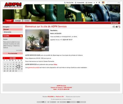 Le site Internet de la société ADPM SERVICES SARL, société de dépannage sur tous types de pompes et moteurs, active en Suisse et en France.