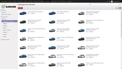 Catalogue des véhicules