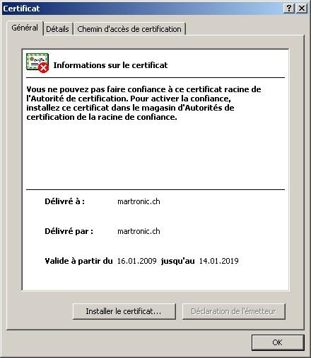 Informations sur le certificat