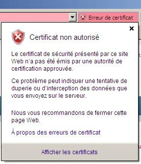 Certificat non autorisé IE7