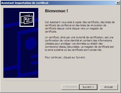Assistant vous aide à copier des certificats IE7