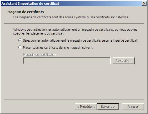 Assistant Importation de certificat IE7
