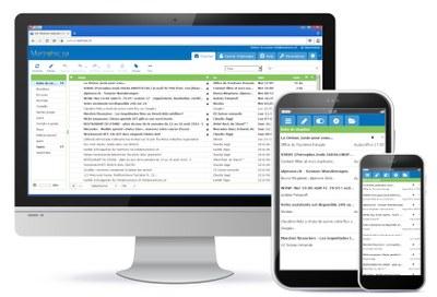 Boîte de réception et d'envoi avec la visualisation de tous les e-mails