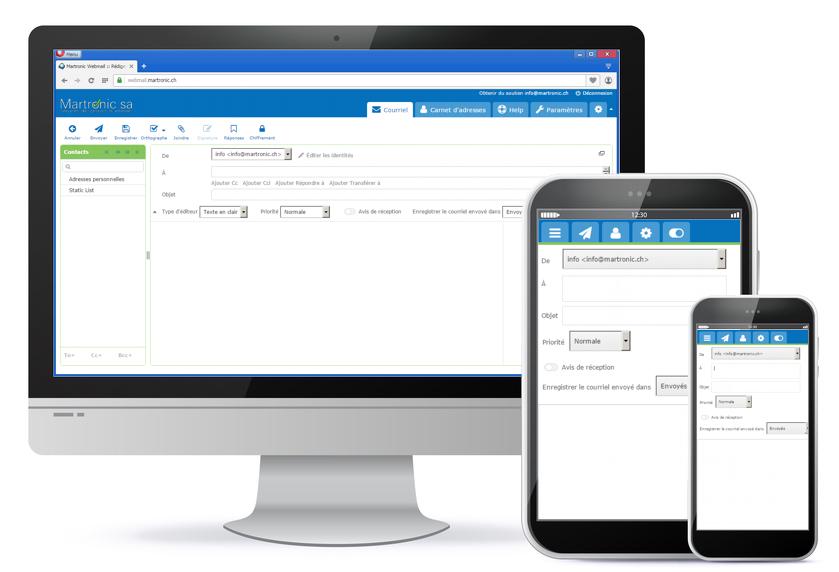 L'écran de composition du courriel avec de nombreuses options et paramétrages